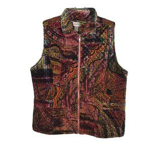 Chicos Velvet Full Zip Vest XL Multicolor Paisley